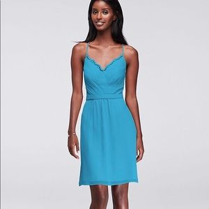 David's Bridal Malibu Blue Chiffon Dress (Size 4)